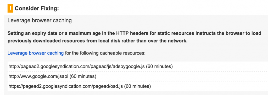 Google PageSpeed only finds issues with Google resources