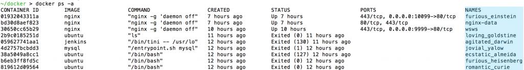 Docker default container names