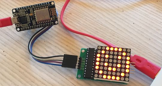 Smiley on an MAX7219 8x8 LED matrix connected to NodeMCU dev kit 1.0